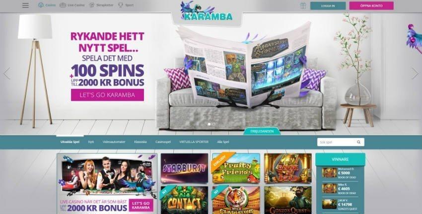 Karamba online casino startsida