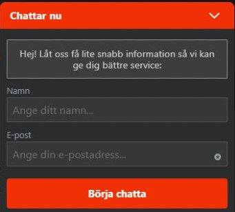 live chat support på klirr casino