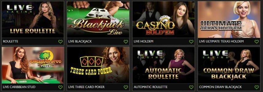 Denna bilden visar ett urval av bord från live casinot som är tillgängligt på Gday Casino. Vi ser bland annat Live Roulette, Blackjack Live, Ultimate Texas Hold'em och Three Card Poker.