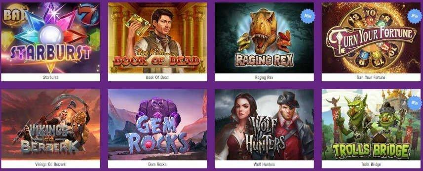 På denna bilden ser vi ett urval av online slots tillgängliga på Lucky Casino. Bland spelen syns bland annat Starburst, Book of Dead, Raging Rex, Vikings go Berzerk och Gem Rocks.