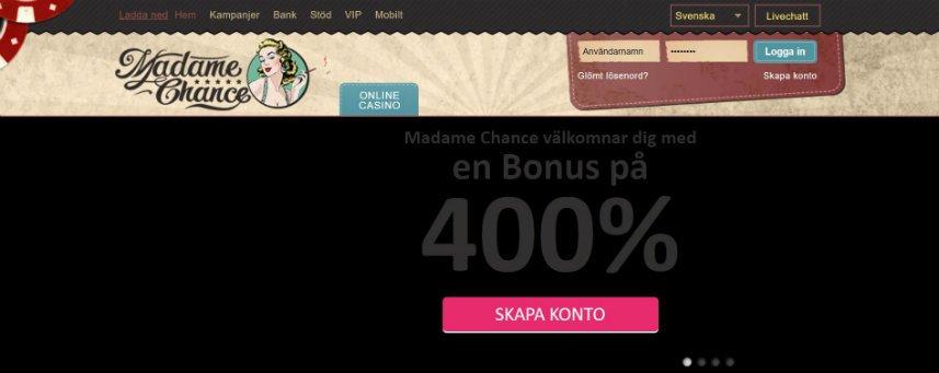 skärmbild som visar casinot Madame Chance startsida.