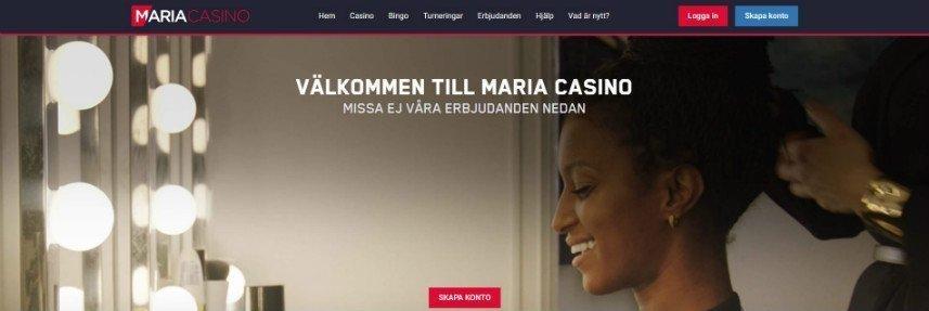 Skärmdump från Maria Casinos hemsida. Högst upp ser vi casinots meny med olika sektioner samt inloggningsalternativ. I mitten syns en bild med en leende svart kvinna som får sitt hår uppsatt.