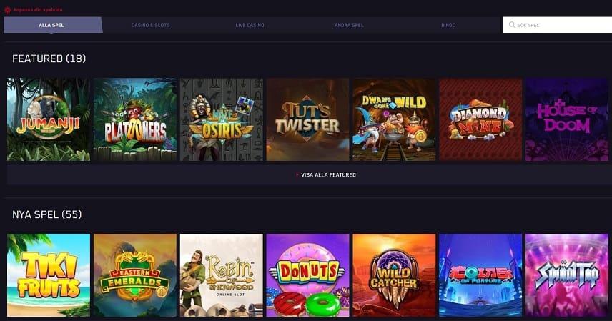 Bilden visar ett urval av spel som finns tillgängliga på Maria Casino. Bland annat ser vi spel som Platooners, Jumanji och Donuts.