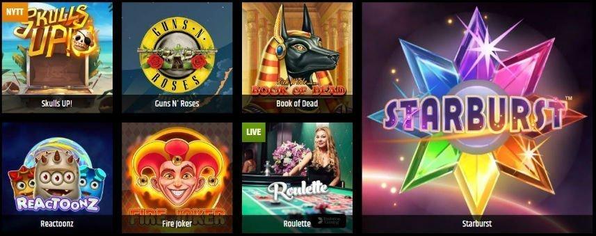 På denna bilden ser vi ett urval av casinospel tillgängliga på Metal Casino. De spel vi ser här är Skulls UP! Guns N'Roses, Book of Dead, Reactoonz, Fire Joker, Roulette och Starburst.