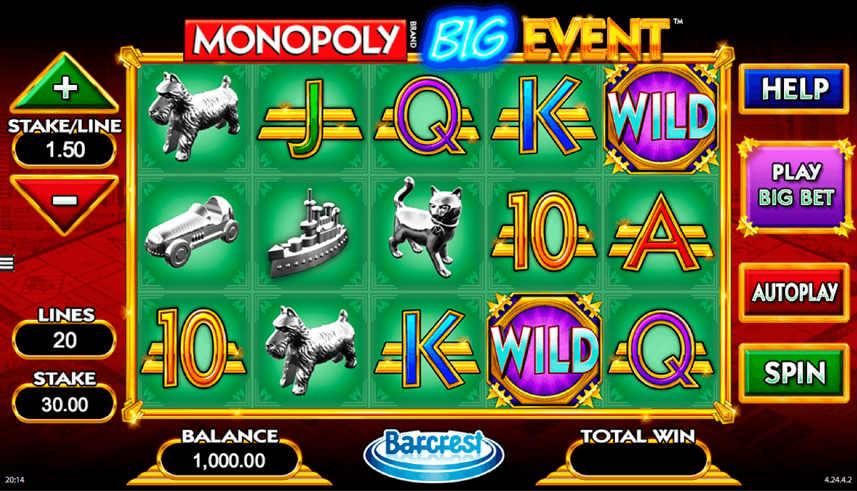Centrerat på bilden ser vi Monopoly Big Events spelyta. Symboler i form av klassiska pjäser från Monopol blandas med bokstäver och wilds på spelytan. Omkring spelytan, till vänster, höger och nedanför, syns olika inställningar, knappar och information. Det är insats, betalrader, balans, vinst, startknapp, hjälp och andra alternativ som driver spelet vidare.