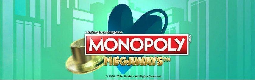 Monopoly Megaways är ett casinospel från januari 2020 som finns att spela på SverigeAutomaten. I denna bilden ser vi spelets logotyp, i bakgrunden ser vi grönfärgade skyskrapor.