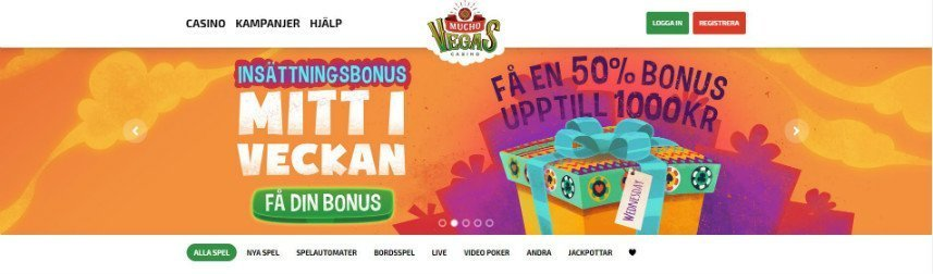 Skärmbild som visar Mucho Casinos startsida.