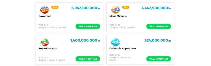 Multilottos utbud av lotterier