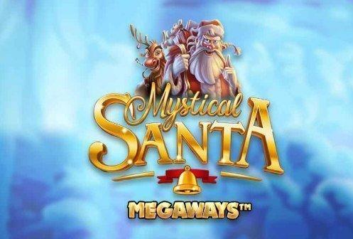 Logotyp för casinospelet Mystical Santa Megaways. I bilden ser vi Tomten och Rudolf. Under syns texten Mystical Santa megaways. I bakgrunden syns en vy av en molnig himmel