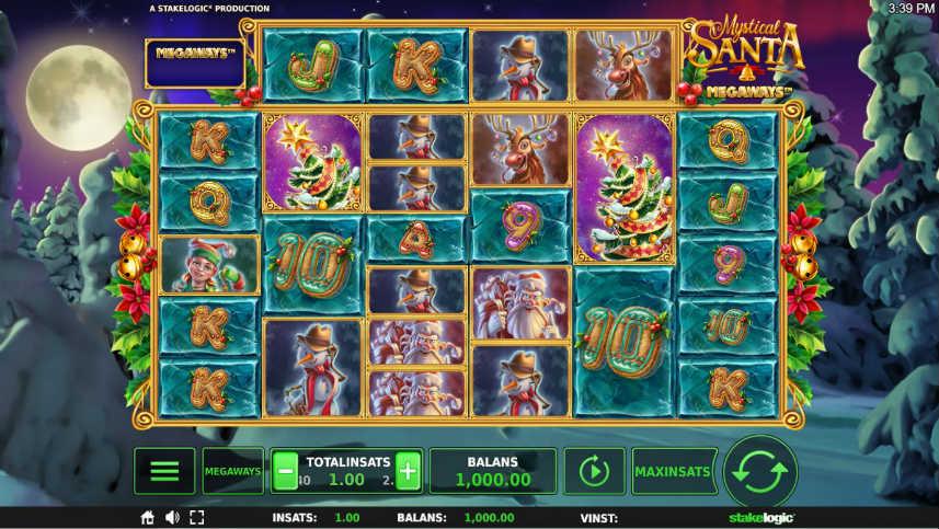 På bilden ser du grundspelet i casinospelet Mystical santa megaways. Spelet har ett jultema så vi ser symboler i former av granar, snögubbar och julklappar. I bakgrunden ser vi ett vinterlandskap.