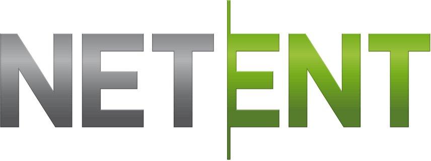 NetEnts logotyp där net står skrivet i metalliskt grått och ent står i en skinande grön färg