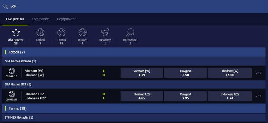 Skärmbild av odds på nightrush casinos hemsida