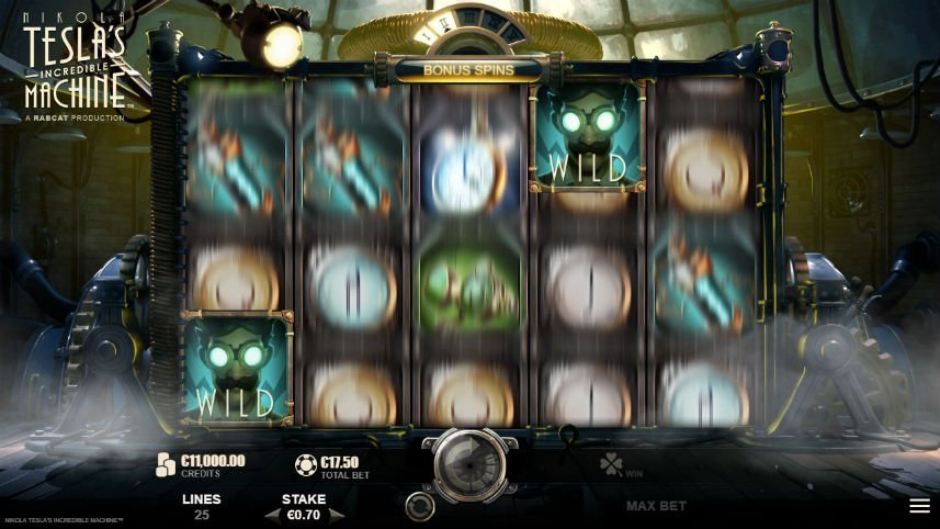 bonusspel i online slot Nikola Tesla Incredible Machine