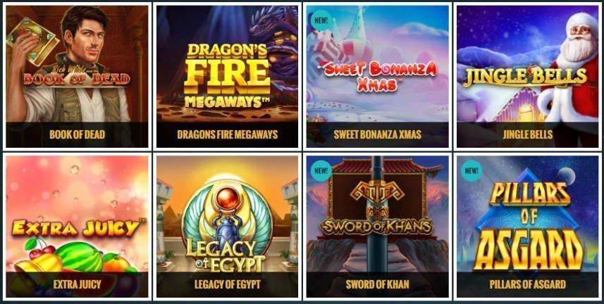 Ett urval av casinospel tillgängliga på No Account Casino. Vi ser spelen Book of Dead, Dragons Fire Megaways, Sweet Bonanza Cmas, Jingle Bells, Extra Juicy, Legacy of Egypt, Sword of Khan och Pillars of Asgard på bilden.