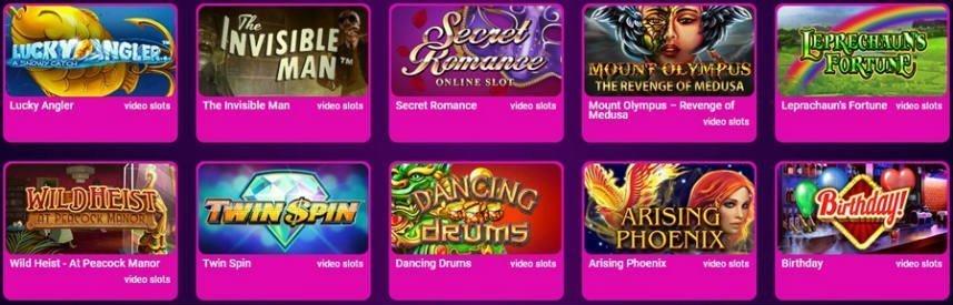 Bilden visar delar av spelutbudet på No Bonus Casino. Vi ser bland annat spel som Twin Spin och Birthday.