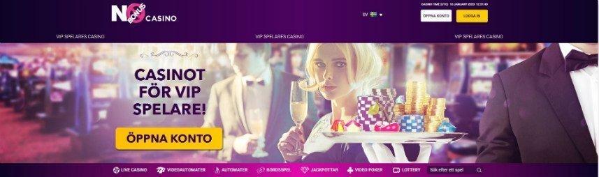 Skärmbild från No Bonus Casinos startsida.