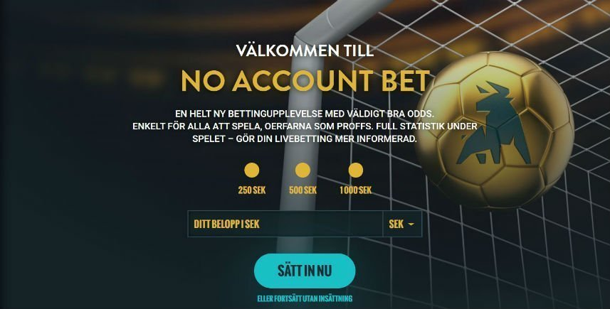 indexsidan på No Account Bet