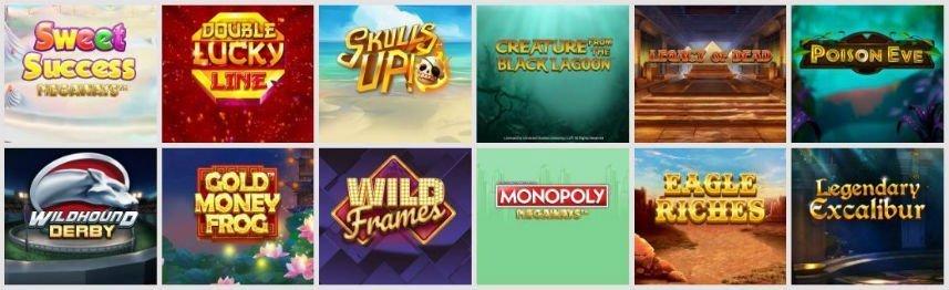 På bilden kan vi se ett urval av casinospel som var listade som deras mest populära nya spel i januari 2020. Här ser vi bland annat Sweet Success, Skills up!, Legacy of Dead, Wildhound Derby, Wild Frames och Monopoly Megaways.