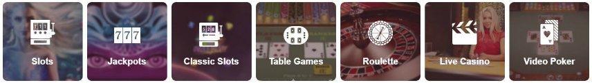 Bilden visar olika kategorier av spel på Omnia Casino. Här syns Slots, Jackpots, Classic slots, Table Games, Roulette, Live Casino och Video Poker.