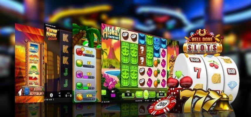 bilden visar ett antal olika casinospel. Bland annat ser vi Aloha Cluster Pays och Twin Spin Deluxe. Vi ser även tre slothjul och några olika casinorelaterade saker i form av spelmarker, sjuor, klockor och körsbär.