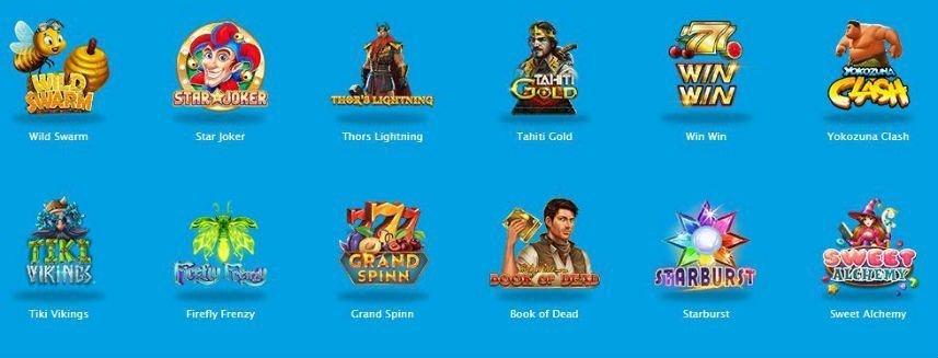 Ett urval av casinospel som finns tillgängliga. Vi ser bland annat ikoner från Book of Dead och Tahiti Gold på bilden.