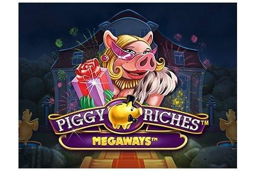 Grafik för spelet Piggy Riches. Vi ser en gris klädd i päls hållande en present. Under henne syns spelets titel Piggy Riches Megaways. I bakgrunden syns ett hur och fyrverkerier.