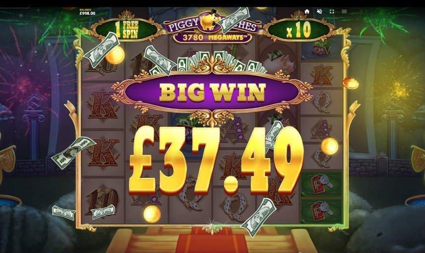 Vinst i casinospelet Piggy Riches Megaways. Här ser vi en vinst delas på 37,49 euro delas ut.