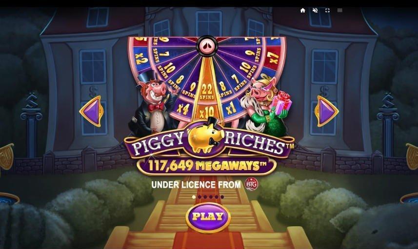 Bild från menyn i Piggy Riches Megaways. Här ser vi spelets bonushjul.