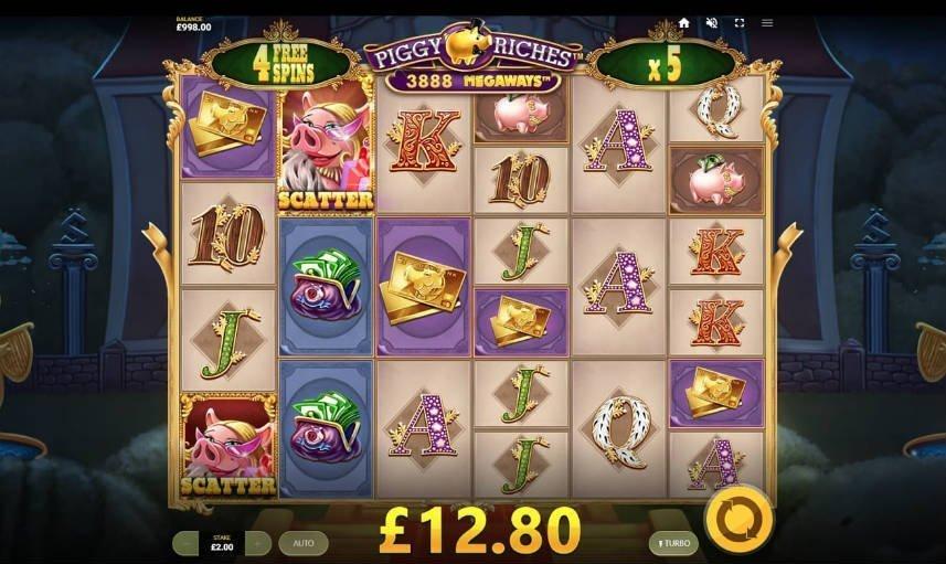Här ser vi en skärmdump av casinospelet Piggy Riches Megaways