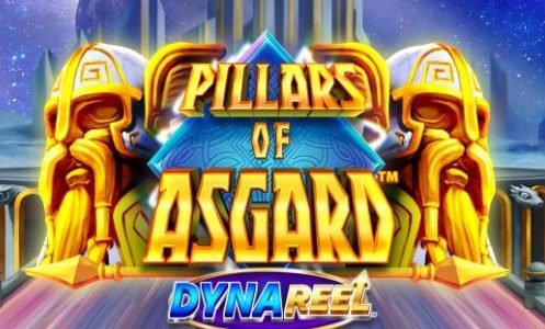 """Logotyp tillhörande casinospelet Pillars of Asgard. Vi ser två guldfärgade skäggiga ansikten. Mellan dem kan vi läsa texten """"Pillars of Asgard DynaReel"""""""
