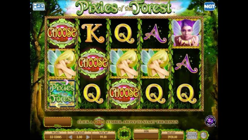 """Bilden visar casinospelet pixies of the Forest. På bilden ser vi spelets spelyta med symboler i form av bokstäver, """"elvor"""", och specialsymboler. Under syns spelytan med saldo, insats och startknapp. I bakgrunden syns är grön skog."""
