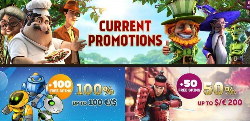 """Bilden visar olika casinobonusar som erbjuds eller har erbjudits på Playamo. Det är en kombination av tre bilder. En bild högst upp och två nedanför. Högst upp ser vi olika karaktärer från casinospel stående i en skogsglänta. I mitten av bilden står det """"Current Promotions"""". Nedre bilden till vänster visar tre robotar i rymden. Bredvid dessa står texten: """"+100 freespins 100% up to 100 euro"""". Nedre bilden till höger visar en samuraj stående bredvid ett hus. Intill honom syns texten """"+50 freespins 50% up top 200 euros""""."""