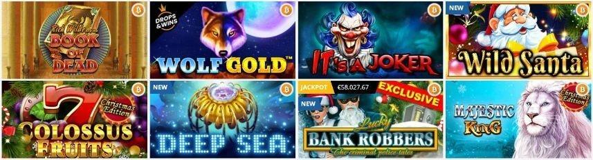 Bilden visar ett urval av spel tillgängliga på Playamo. Vi ser bland annat Book of Dead, Wolf Gold, Wild Santa, Deep Sea och Majestic King.