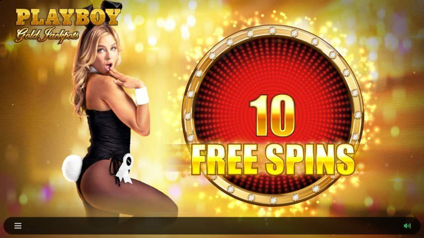 Skärmdump som visar free spins i Playboy Gold Jackpots. En kvinna syns också till vänster av bilden.