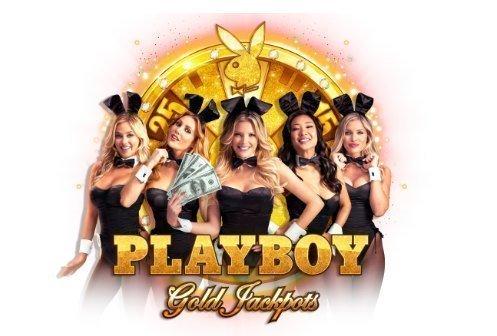 logotyp för casinospelet Playboy Gold Jackpots. Bakom logotypen står 5 kvinnor, bakom dessa syns ett guldfärgat lotterihjul.