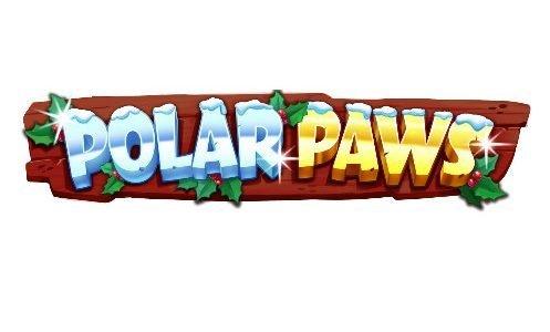 Logotyp tillhörande casinospelet Polar Paws. Vi ser en träskylt. På denna skylten står Polar Paws skrivet i silver och guld.