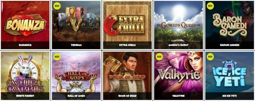 Ett urval av casinospel som finns tillgängliga på Prank Casino. Vi ser bland annat spel som Book of Dead och Bonanza Megaways.