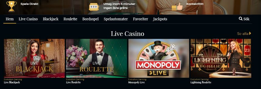 premier live casino index