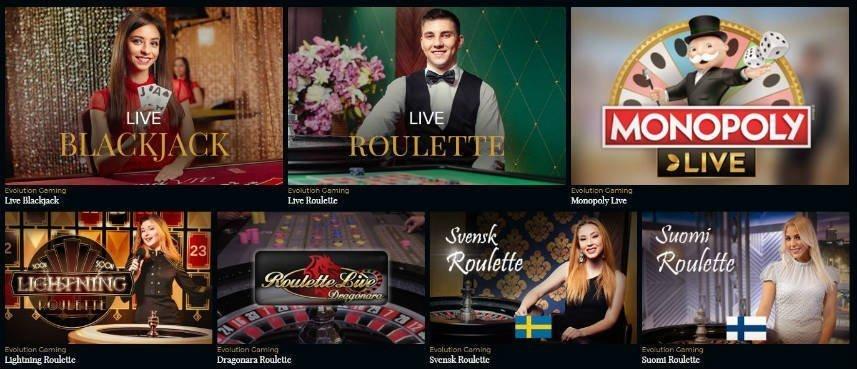 Urval av livespel från Premier Live Casino. Vi ser blackjack, roulette, monopolu live, Lighting Roulette, Roulette Live, Svensk Roulette och Soumi Roulette.