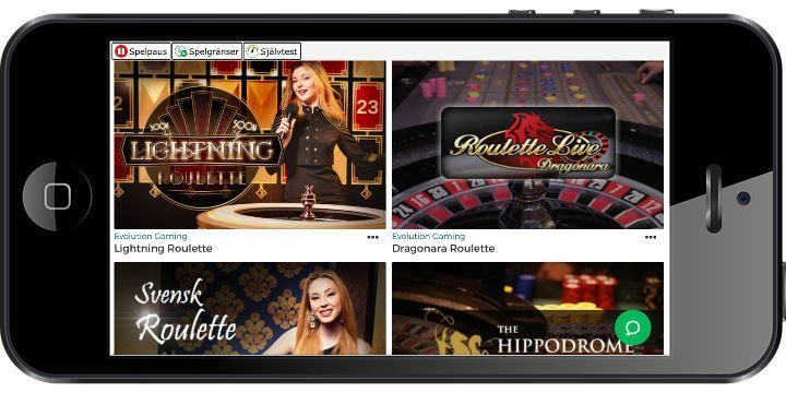 Mobilskärm visar ett antal av de live casino spel som finns tillgängliga på Pronto Casino. Här ser vi Lightning Roulette, Dragonara Roulette och Svensk Roulette