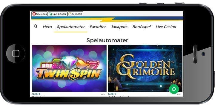 Mobilskärm visar två olika casinospel tillgängliga på Pronto Casino. Spelen är Twin Spin och Golden Grimoire.