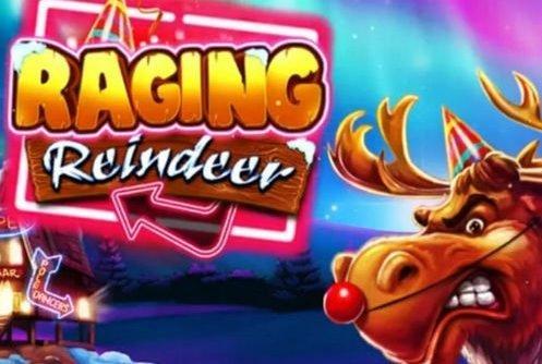 Logotyp och grafik från Raging Reindeer. Rudolf med sin röda nos syns i bildens högra del.