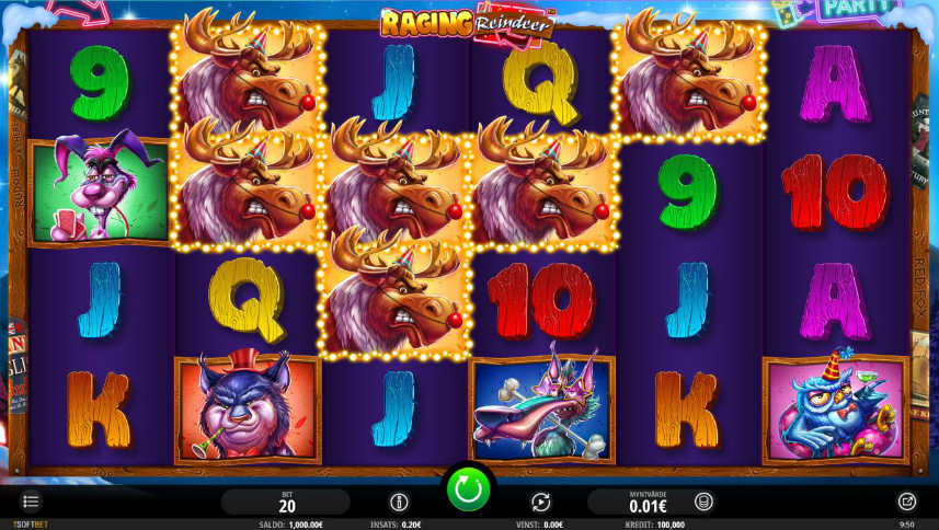 Skärmdump från Raging Reindeer. Visar casinospelet grundspel med olika casino och julinspirerade symboler, ett vinterlandskap i bakgrunden och kontrollytan med insats, saldo etc