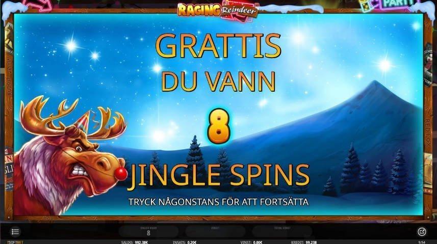 Meny från casinospelet Raging Reindeer. Visar att du vunnit 8 jingle spins och gratulerar dig.