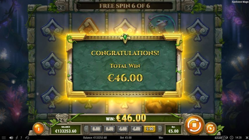 vinst i online slot rainforest magic