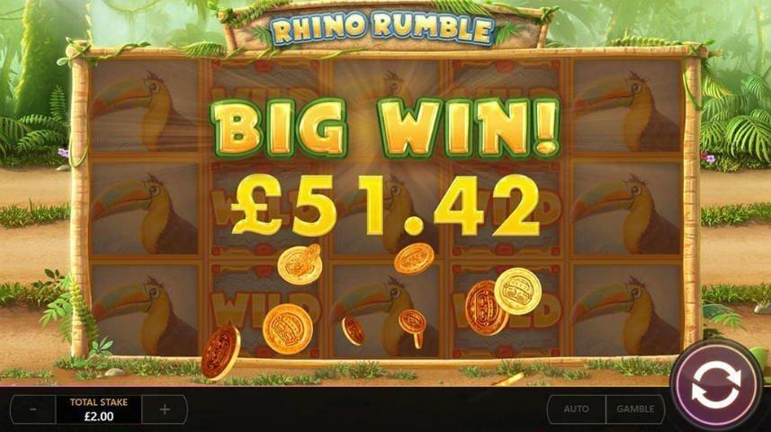 vinst i online slot Rhino Rumble