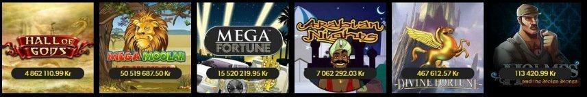 Skärmbild från Rizks utbud av jackpottspel. Här ser vi spelen Hall of Gods, Mega Moolah, Mega Fortune, Arabian Nights, Divine Fortune och Holmes and the Stolen Stones.