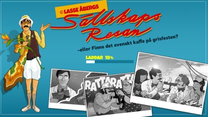 """På bilden ser vi Stig Helmer, tecknade fotografier från filmen. Filmens logotyp och det klassiska citatet: """"Eller finns det svensk kaffe på grisfesten?"""". Bakgrunden är blå."""