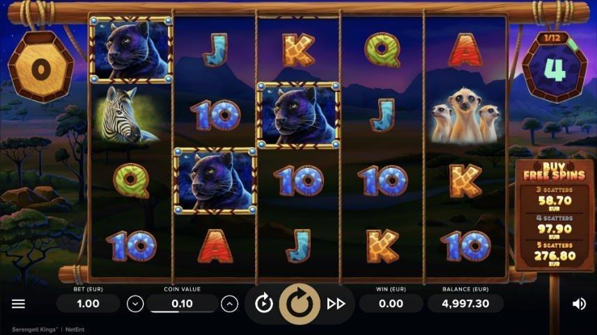 Här ser vi casinospelet Serengeti Kings. I spelytan ser vi symboler i form av bokstäver och djur.