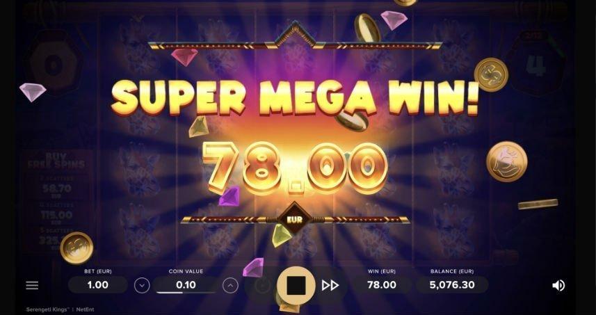 Stor vinst i casinospelet Serengeti Kings
